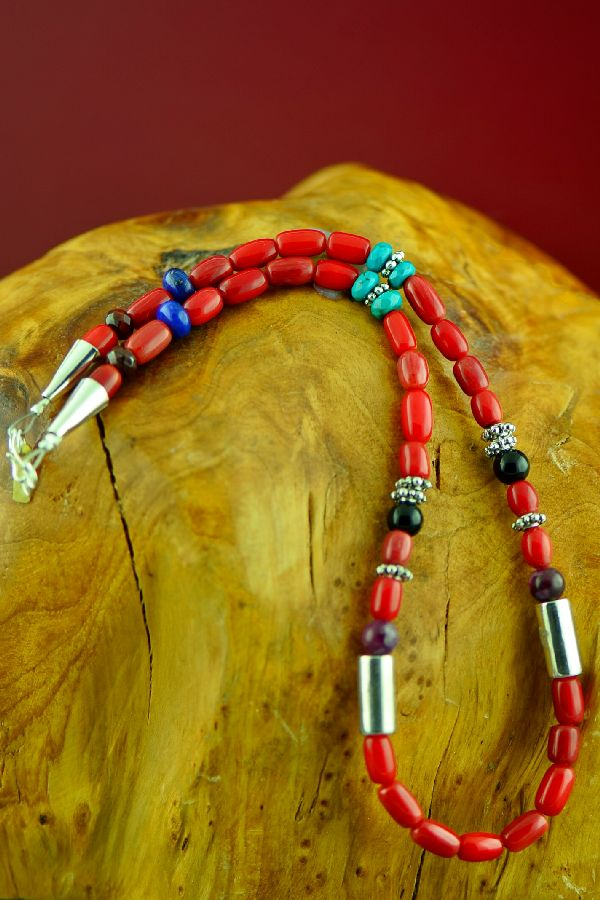 Navajo Sterling Silver Apple Coral, Kingman Turquoise, Lapis and Black Onyx Necklace by Rosita Singer
