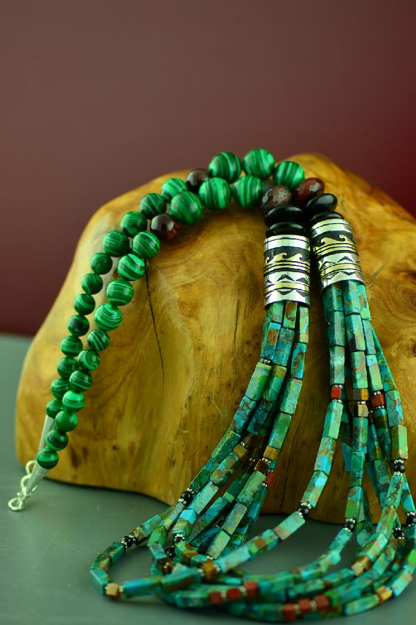 Navajo Sterling Silver and 12ktGF Kingman Turquoise, Black Onyx, Tiger Eye, Malachite and Agate 7 Strand Graduated Disc Bead Necklace by Rosita Singer