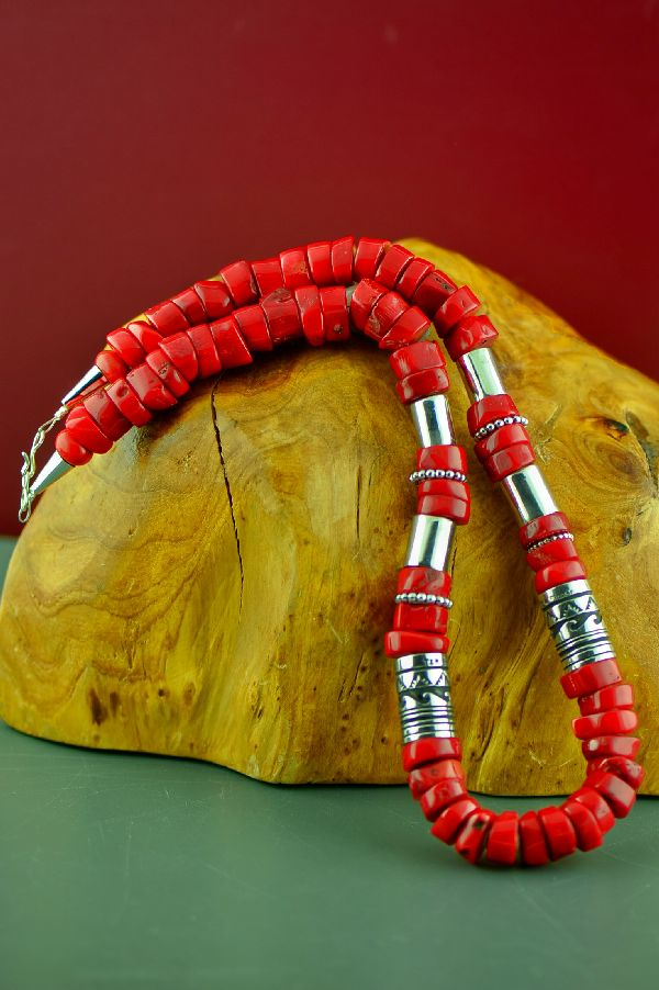 Navajo Sterling Silver Apple Coral Necklace by Rosita Singer