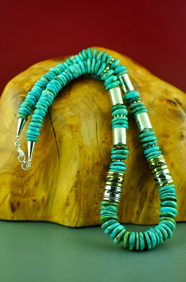 Navajo Sterling Silver and 12ktGF Kingman Turquoise Necklace by Rosita Singer
