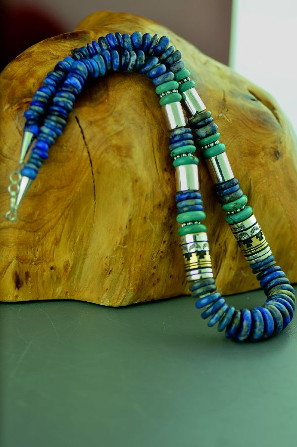 Navajo Sterling Silver and 12ktGF Lapis and Kingman Turquoise Necklace by Rosita Singer
