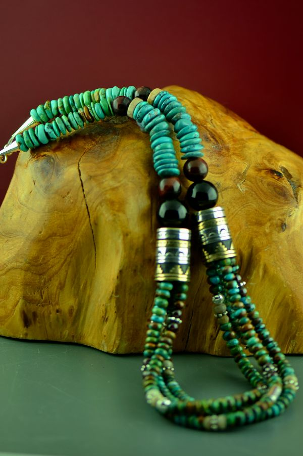 Navajo Sterling Silver and 12ktGF Kingman Turquoise, Tiger Eye, Agate and Black Onyx Four Strand Graduated Disc Bead Necklace by Rosita Singer