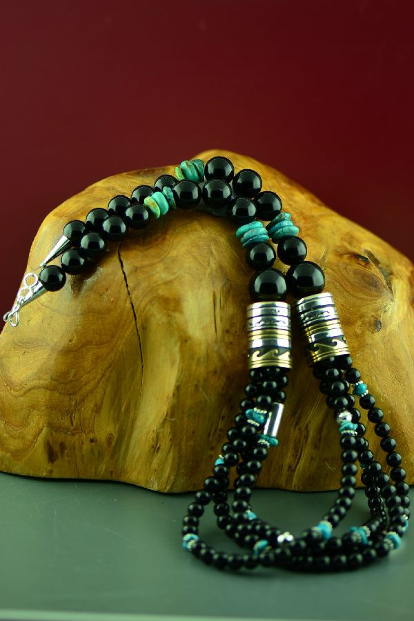 Navajo Sterling Silver and 12ktGF Black Onyx and Kingman Turquoise Four Strand Graduated Disc Bead Necklace by Rosita Singer