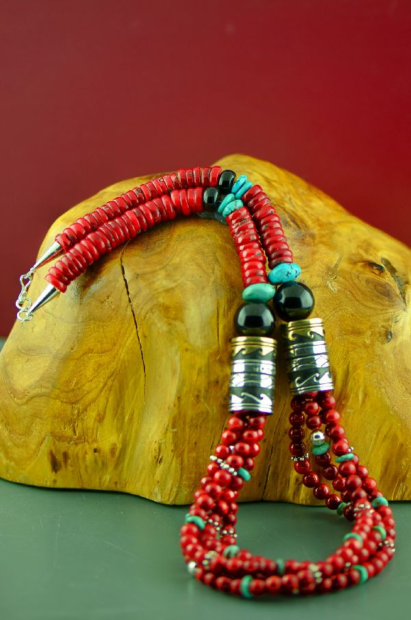 Navajo Sterling Silver and 12ktGF Apple Coral, Kingman Turquoise and Black Onyx Four Strand Graduated Disc Bead Necklace by Rosita Singer
