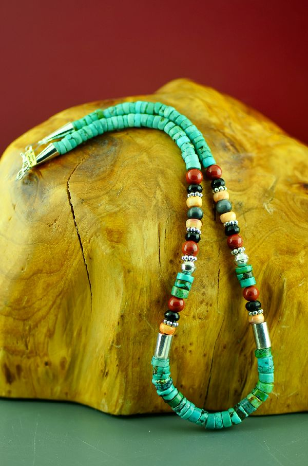 Navajo Sterling Silver Kingman Turquoise, Spiny Oyster Shell, Black Onyx, Agate Necklace by Rosita Singer