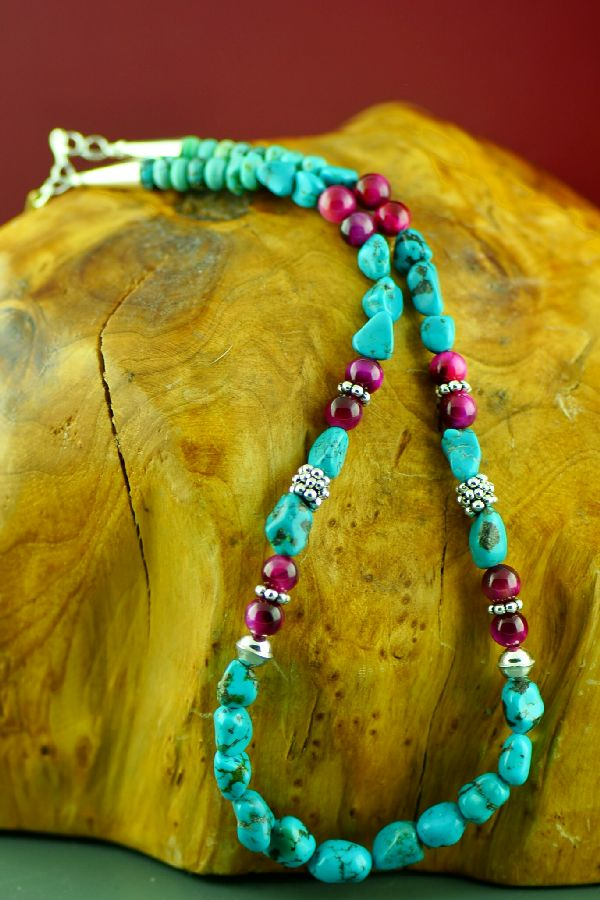 Navajo Sterling Silver Kingman Turquoise and Agate Necklace by Rosita Singer