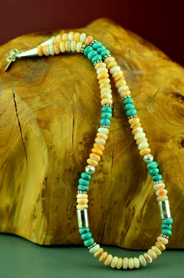 Rosita Singer Turquoise and Spiny Oyster Necklace