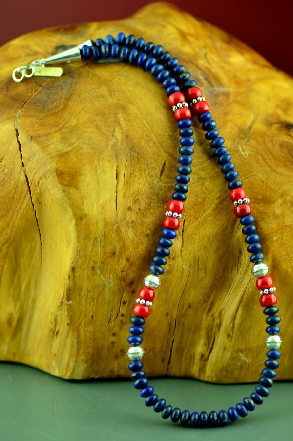 Navajo Lapis and Apple Coral Necklace by Rosita Singer