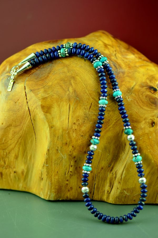 Navajo Sterling Silver Kingman Turquoise and Lapis Necklace by Rosita Singer