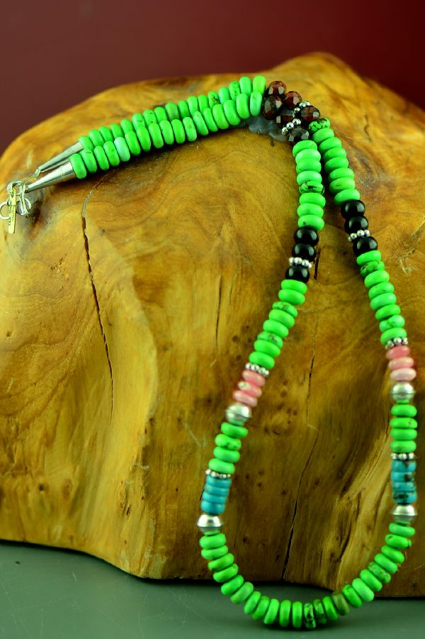 Navajo Gaspeite, Turquoise, Black Onyx and Agate Bead Necklace by Rosita Singer