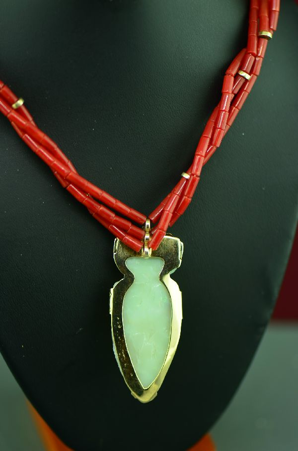 Navajo 14KT Gold Natural Mediterranean Coral and Opal Arrowhead Necklace by the late Kee Begay (Private Collection)