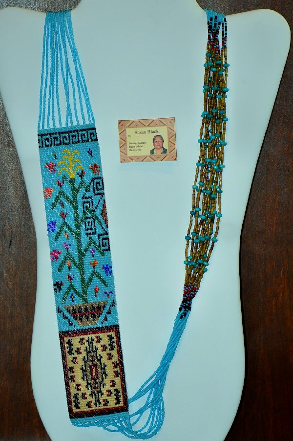 Navajo 11 Strand Tree of Life, Basket and Rug Pattern Necklace by Susan Black