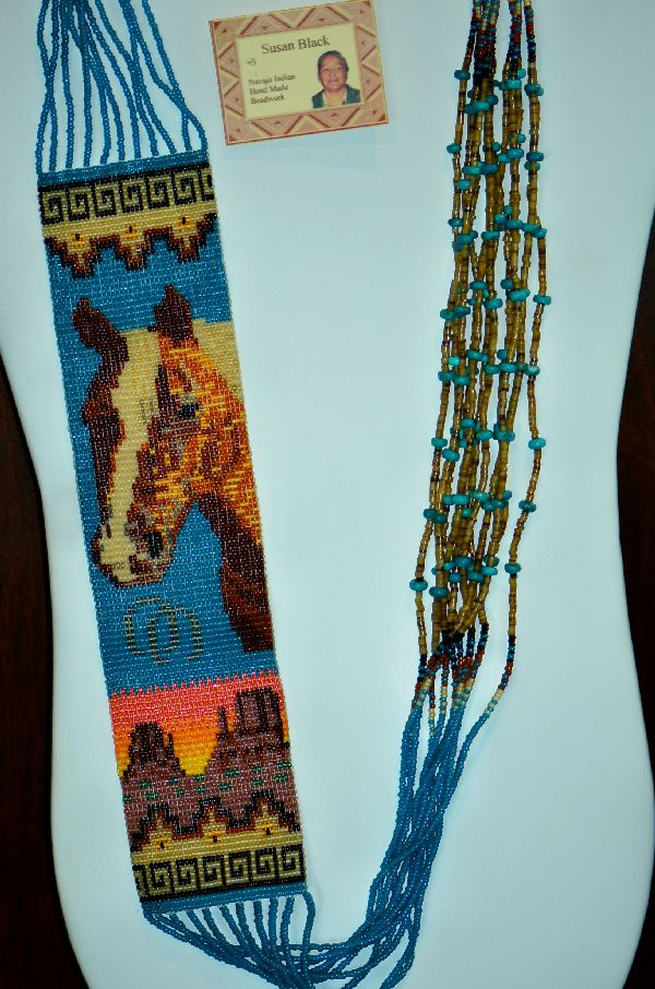 Navajo 11 Strand Beaded Horse and Monument Valley Necklace by Susan Black