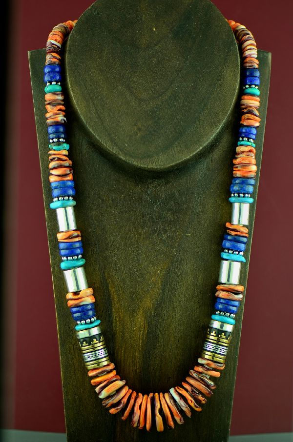 Rosita Singer Spiny Oyster Shell, Kingman Turquoise and Lapis Necklace