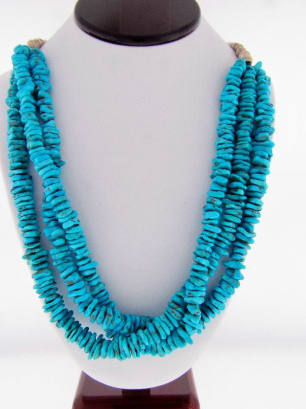 Navajo - Sleeping Beauty Turquoise Squaw Wrapped Necklace