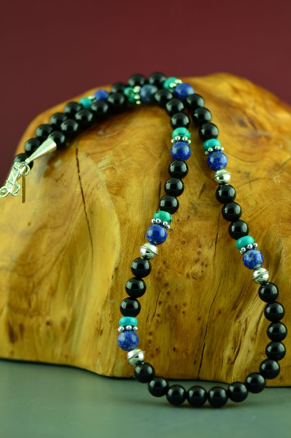 Navajo Kingman Turquoise, Lapis and Black Onyx Necklace by Rosita Singer