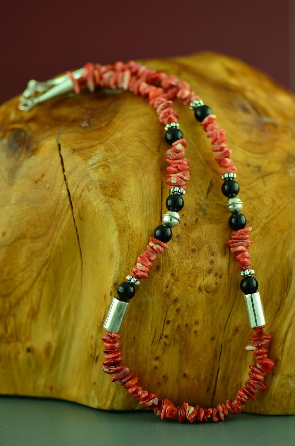 Navajo Spiny Oyster Shell and Black Onyx Sterling Silver Necklace by Rosita Singer