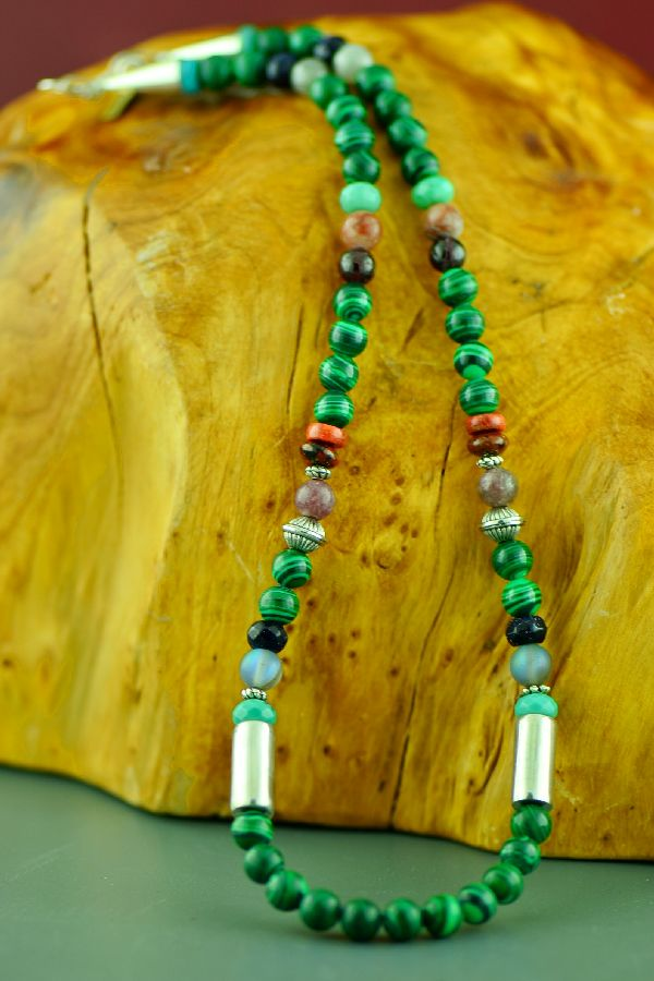 Rosita Singer Malachite, Spiny Oyster Shell, Turquoise and Agate Necklace