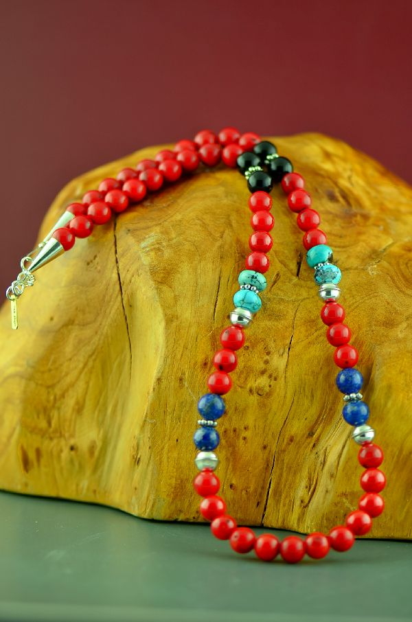 Navajo Apple Coral, Turquoise, Black Onyx and Lapis Necklace by Rosita Singer