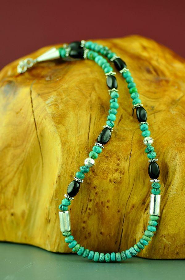 Navajo Kingman Turquoise and Black Onyx Necklace by Rosita Singer