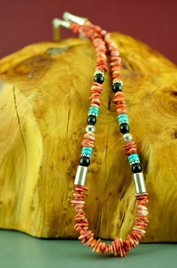 Navajo Sterling Silver Kingman Turquoise, Spiny Oyster Shell and Black Onyx Necklace by Rosita Singer