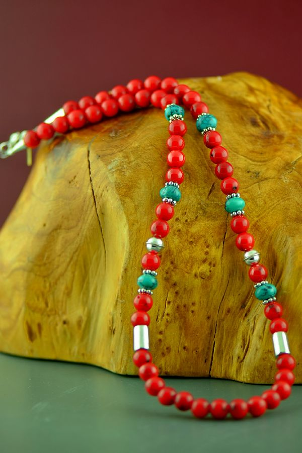Navajo Sterling Silver Kingman Turquoise and Apple Coral Necklace by Rosita Singer