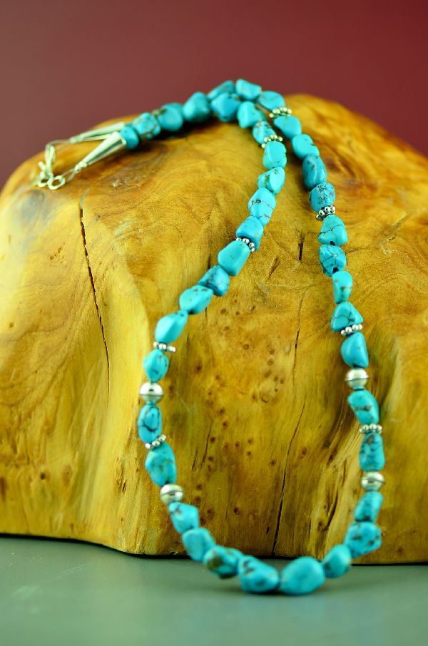 Navajo Sterling Silver Kingman Turquoise Necklace by Rosita Singer