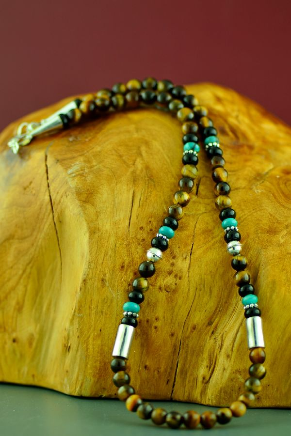 Rosita Singer Kingman Turquoise, Tiger Eye and Black Onyx Necklace