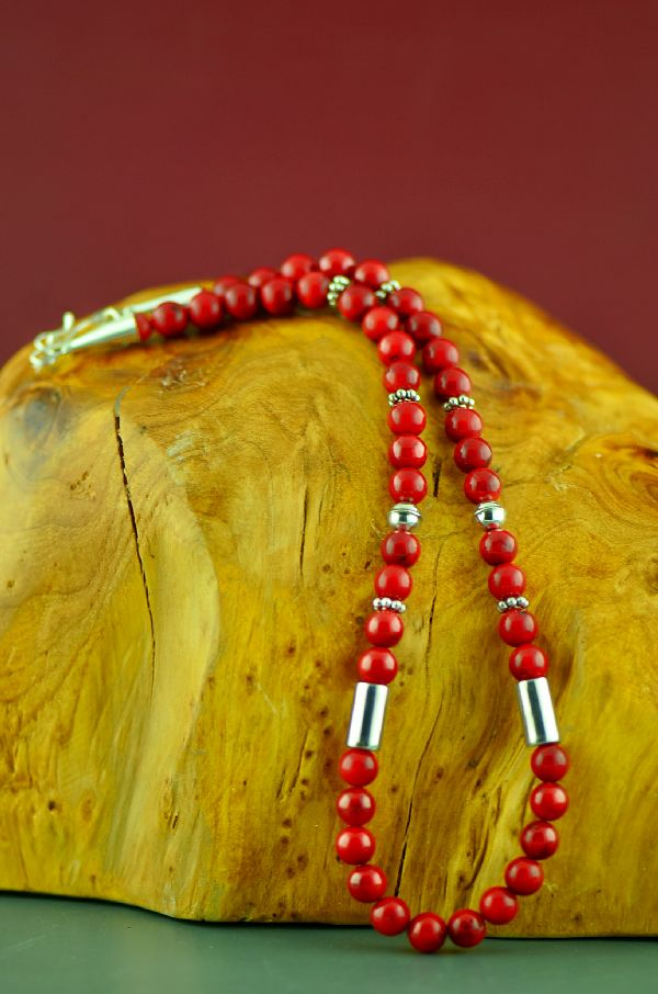 Navajo Sterling Apple Coral Necklace by Rosita Singer