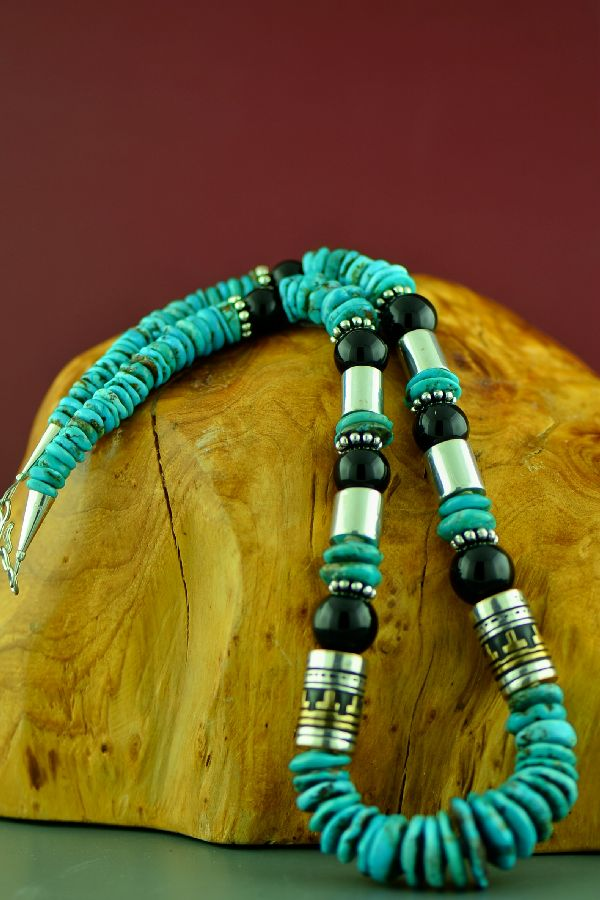 American Indian Kingman Turquoise and Black Onyx Necklace by Rosita Singer