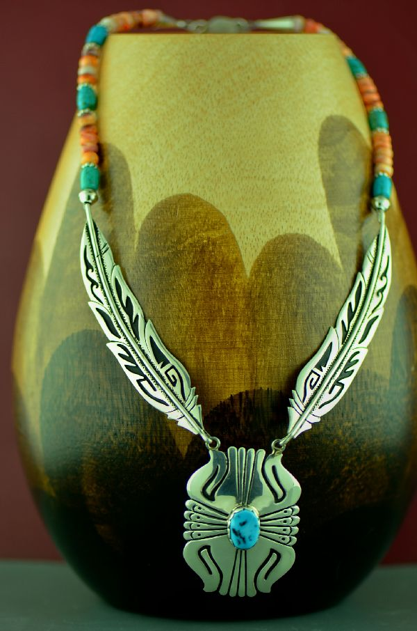 Navajo Kingman Turquoise and Spiny Oyster Shell Feather Necklace by Rosita Singer