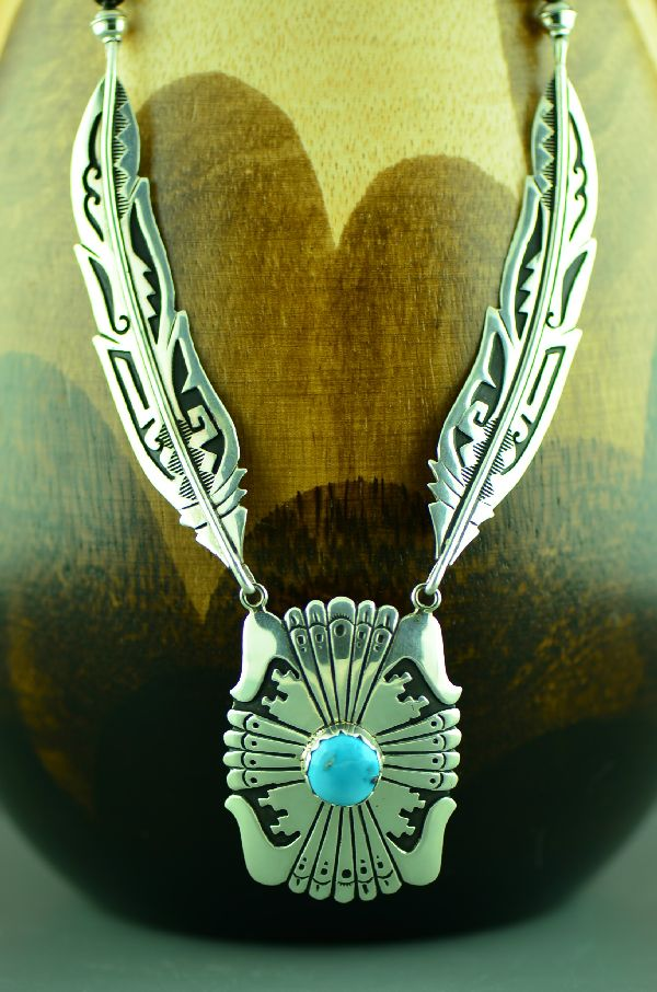 Navajo Sterling Silver Feather Kingman Turquoise and Black Onyx Necklace by Rosita Singer