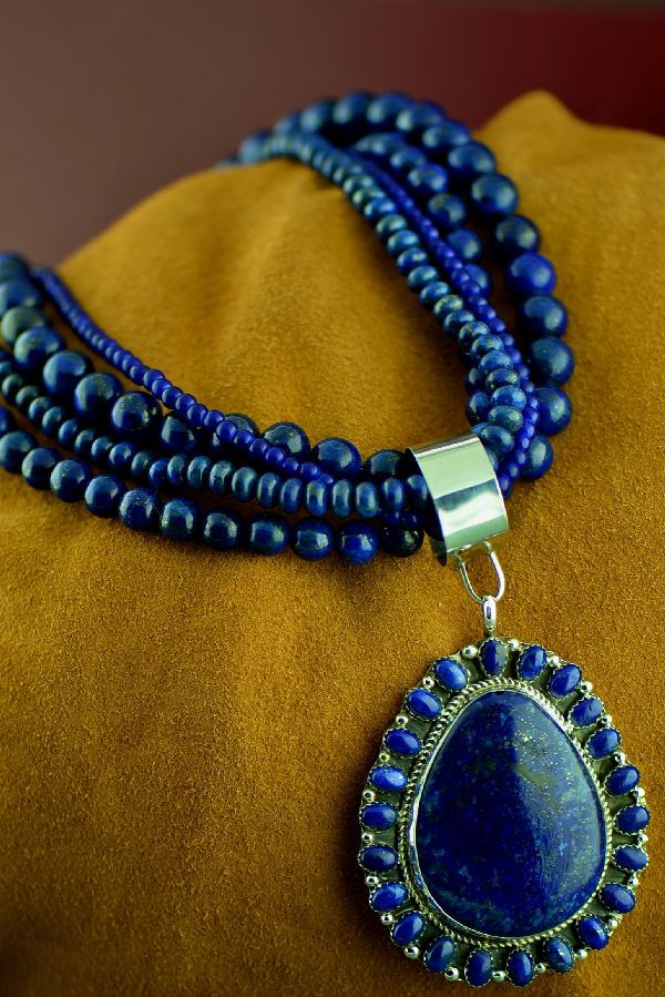 Exquisite Navajo 3 Strand Lapis Necklace with Sterling Silver Lapis Pendant by Lucy Cayatineto