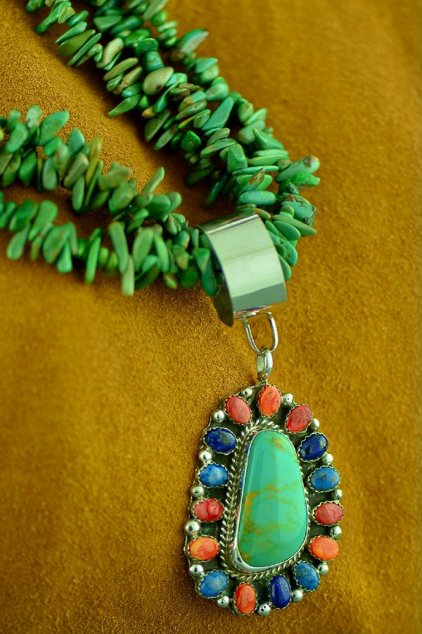 Navajo 3 Strand Nevada Turquoise Necklace with Sterling Silver Multi-Stone Pendant by Lucy Cayatineto