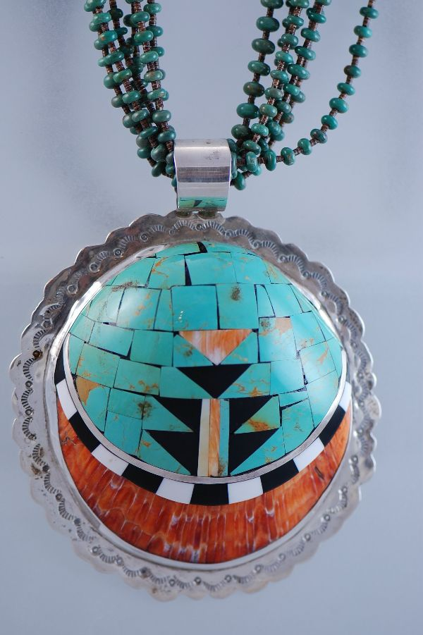Santo Domingo – Museum Quality Inlaid Spiny Oyster Shell on 6 Strand Nevada Turquoise & Penshell Necklace