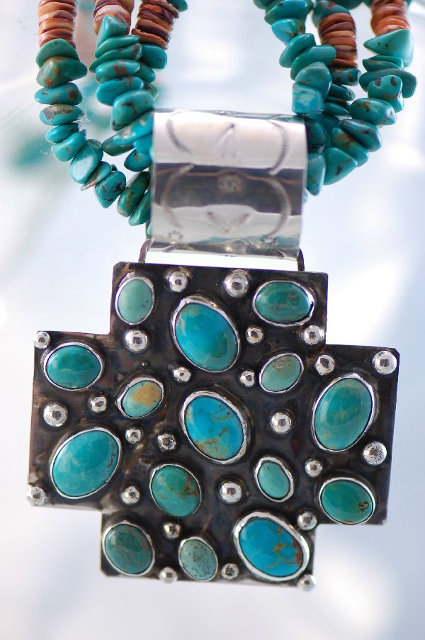 Navajo – Three Strand Traditional Cross Necklace by Lucy Cayatineto
