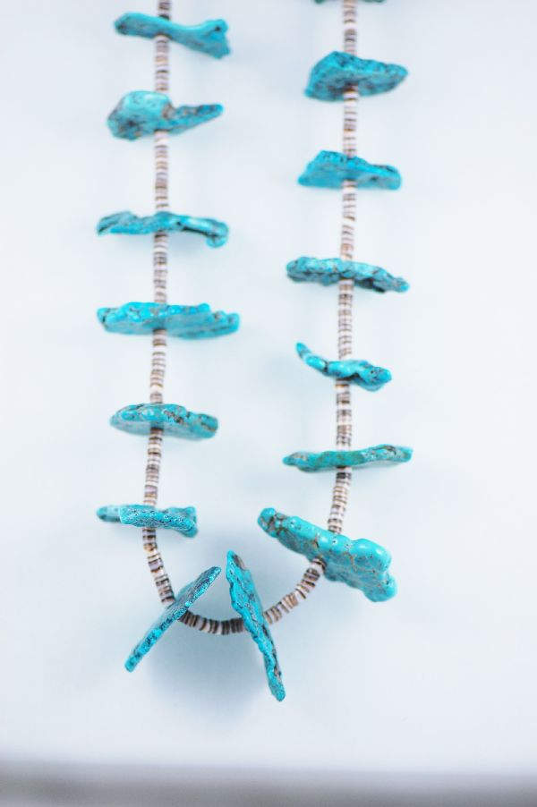 Santo Domingo – Natural Kingman Turquoise Necklace with Oyster Shell Heishe by Ken Aguilar