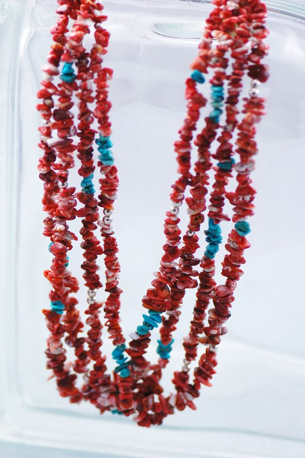 Navajo - 4 Strand Spiny Oyster & Turquoise Necklace with Beautiful Silver Beads