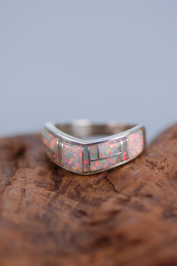 Navajo Lab Opal Inlaid Sterling Silver Ring