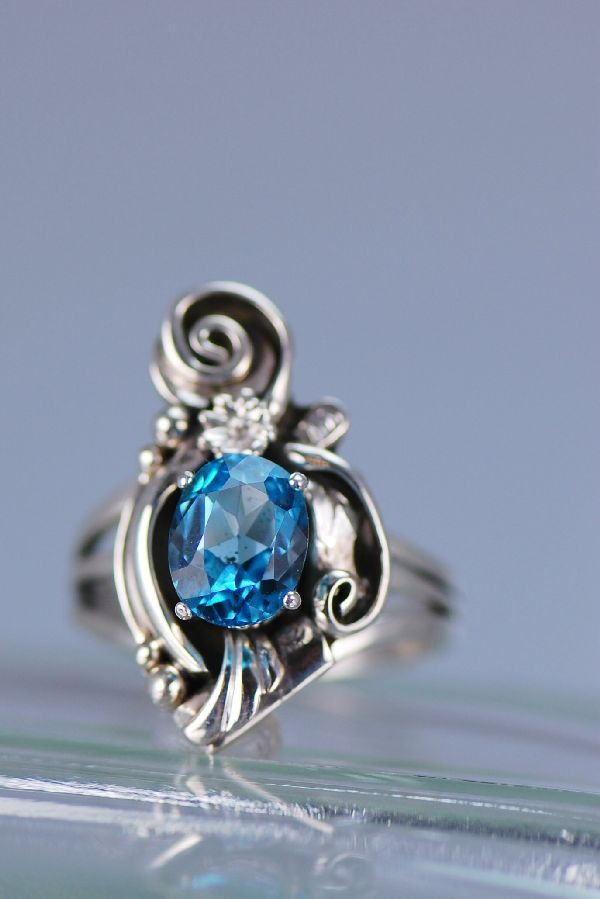 Navajo Ladies Blue Topaz Sterling Silver Ring