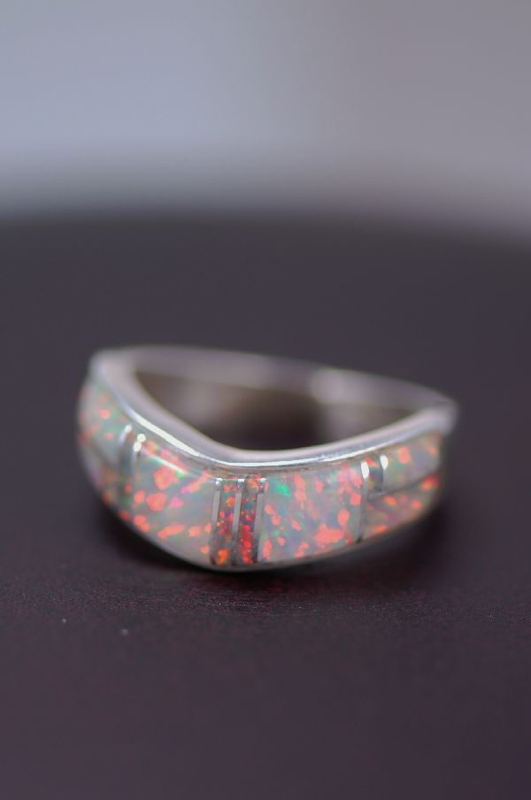Navajo Inlaid Pink Lab Opal Ladies Ring