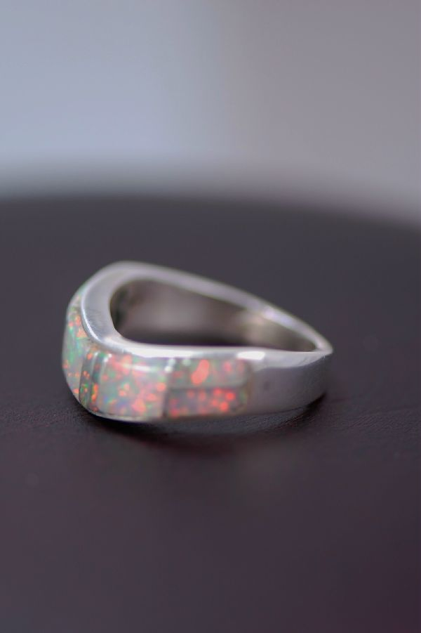 Navajo – Pink Lab Opal Inlaid Sterling Silver Ring Size 6 1/2
