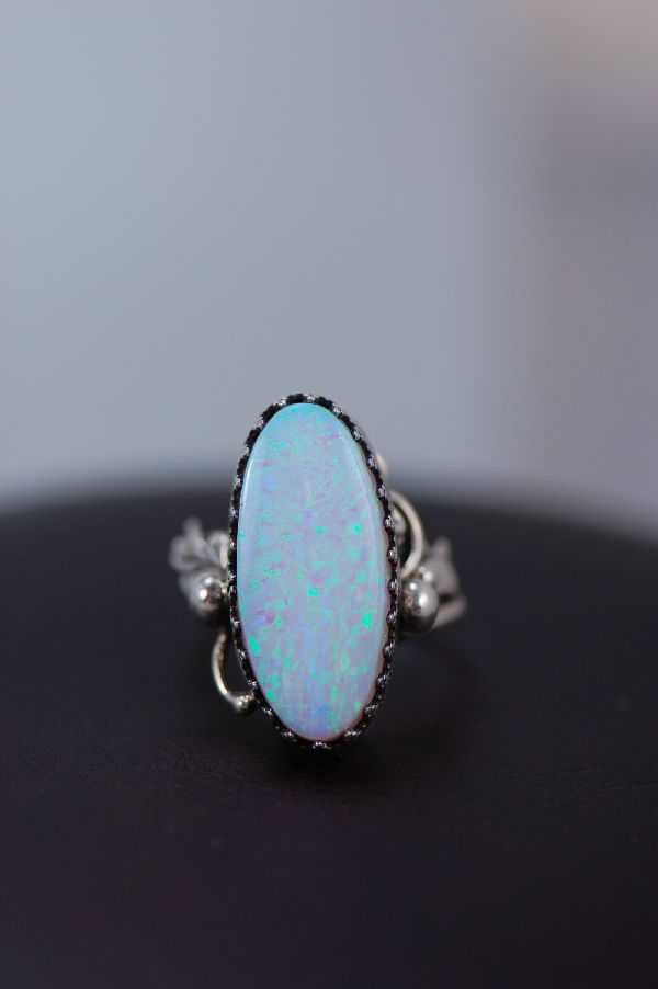 Navajo Sterling Silver Lab Opal Ladies Ring