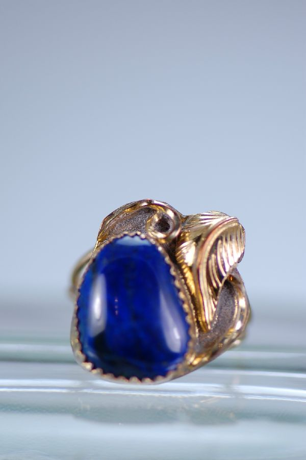 Navajo Sterling Silver and 12ktGF Lapis Ring