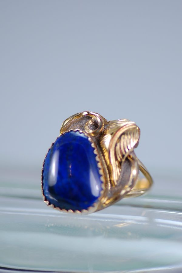 Navajo –12ktGF and Sterling Silver Lapis Sterling Silver Ring Size 6 3/4