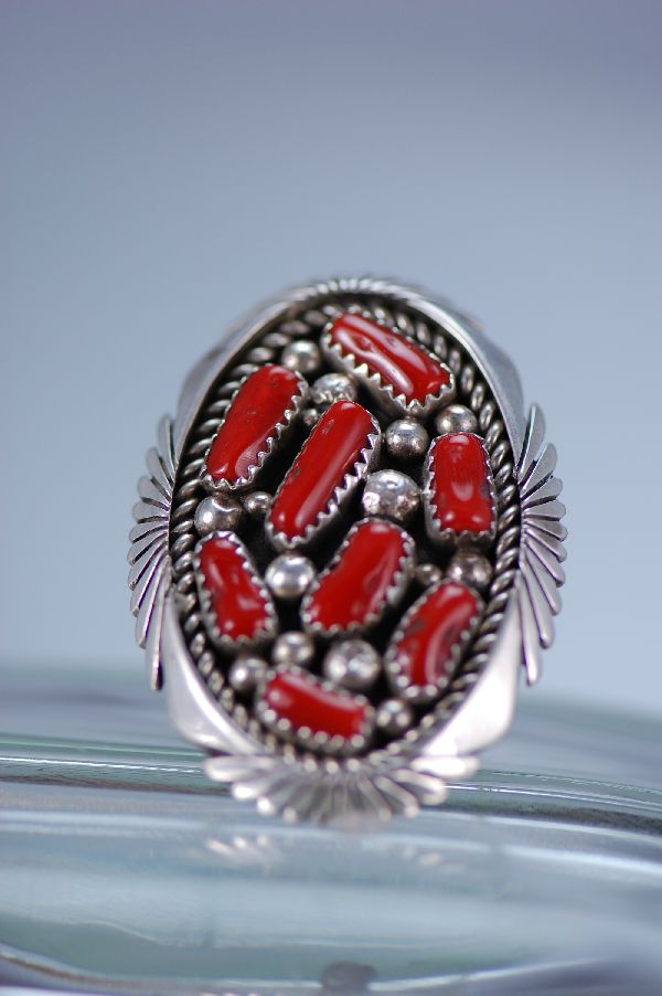 Navajo Natural Branch Coral ring