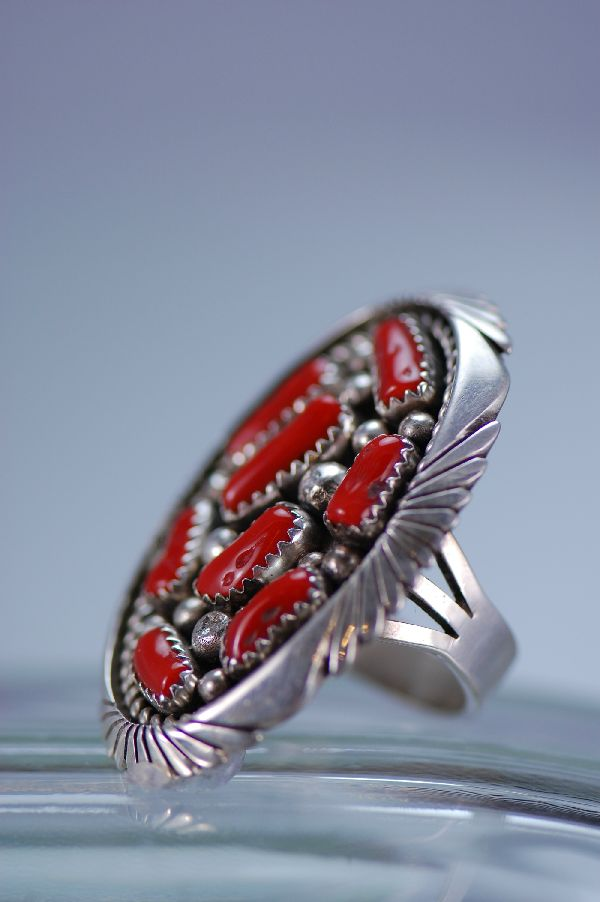 Navajo – Natural Branch Coral and Sterling Silver Ring Size 8