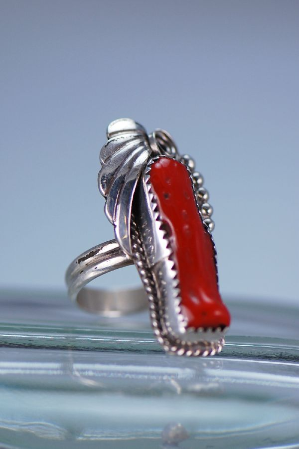 Navajo – Natural Branch Coral and Sterling Silver Ring Size 5 3/4