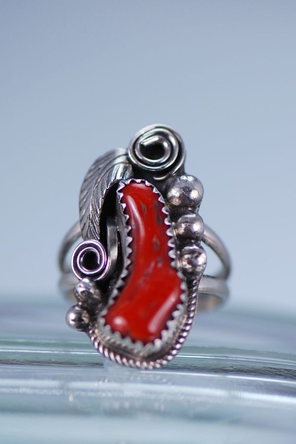 Navajo Ladies Natural Branch Coral Ring