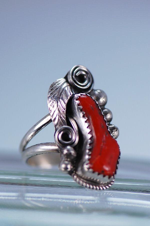Navajo – Natural Branch Coral and Sterling Silver Ring Size 6 3/4
